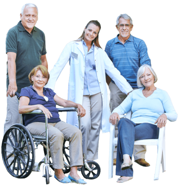 group of seniors with caregiver smiling